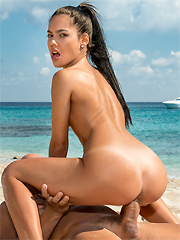 Apolonia Lapiedra fucks the rich guy on a sunny beach