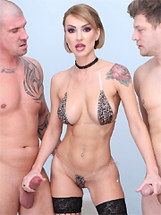 Elen Million gets all pleasure holes impaled by four studs