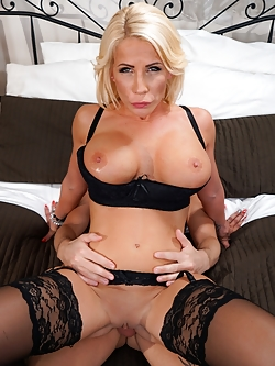 Lonely step-mom Tiffany Rousso is feeling horny for cock and her stepson John Price is starting to look very tasty. She grabs his cock and sucks it like a pro. Tiffany then spreads her legs open for his hard cock. After taking a deep hard pounding, Tiffany then takes a messy hot facial for being one hot milf.