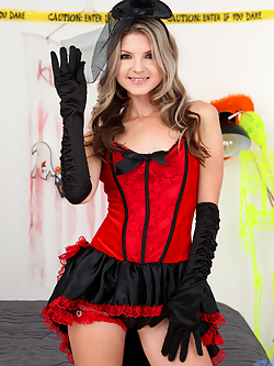 Super cute spinner Gina Gerson is back for some Halloween fun! This stunner loves dressing up as a burlesque babe who can't wait to fuck. She takes her time undressing, but once she's down to just a garter she grabs a Magic Wand and holds nothing back as she sets off on a road to orgasm.
