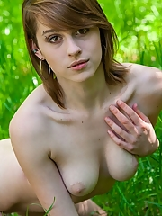 Hot horny girl likes being naked in nature