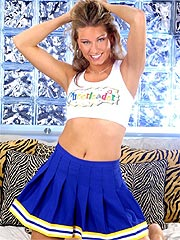 Cheerleader striptease with a playful blonde