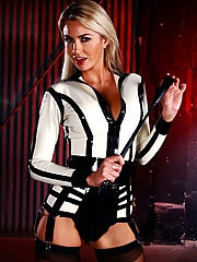 Mistress Gigi Allens commands your submission in her white hot latex outfit